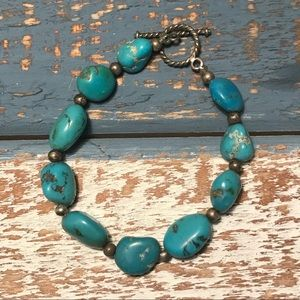 Jewelry - Estate 925 Sterling and Turquoise bracelet! 7in